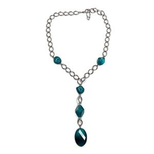 Dark Teal Blue Beaded Y Pendant Chain Necklace